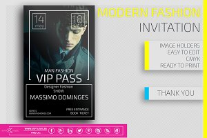 Modern Fashion  Invitation Card Pass