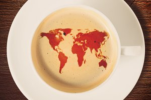 Earth silhouette coffee cup