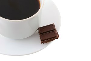 coffee cup and chocolate bars