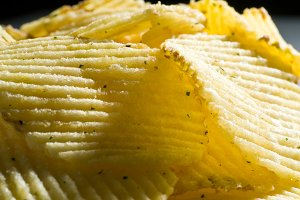 heap of fried chips, macro shot