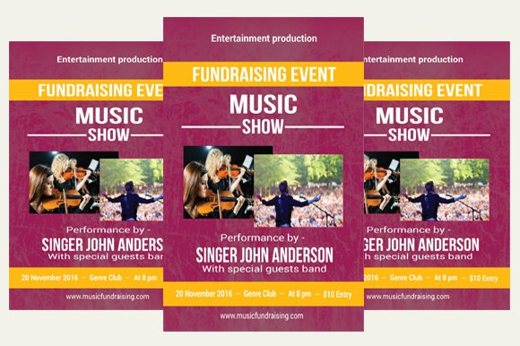 music fundraising flyer flyer templates creative market