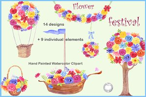Watercolor Clipart Flower Festival
