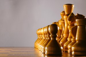 wooden aged chess set