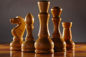 wooden aged chess pieces set