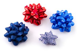 Coloured bows isolated on white background