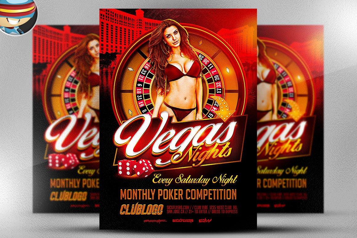Vegas nights flyer template flyer templates creative market for Flyerheroes free