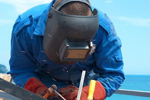 Welder at the factory