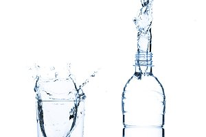 water glass and bottle