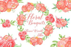 BUNDLE Watercolor Coral Florals