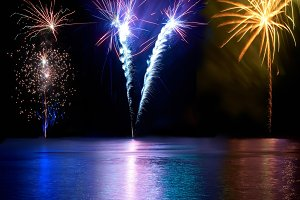 Blue, red, and yellow fireworks