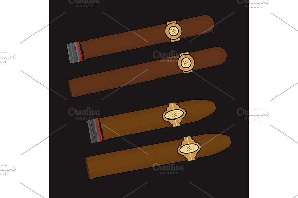Burning cigars set. Vector