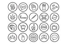 Bad habits. 20 linear icons. Vector