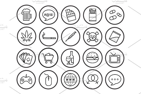 Bad habits. 20 linear icons. Vector in Graphics