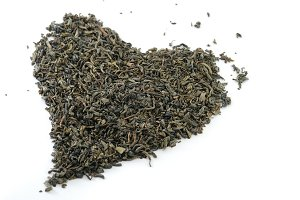 heart-shaped heap of tea