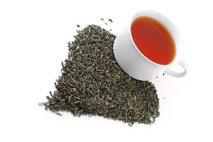heart-shaped heap of tea