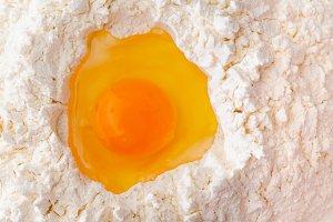egg in flour
