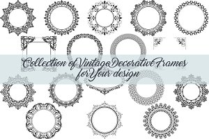 17 vintage decorative vector frames