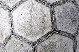 closeup of an old football ball