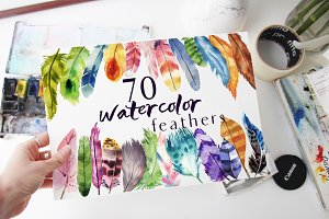 70 watercolor feather! PNG Files!