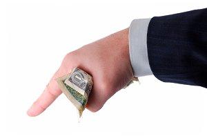 business hand holding money