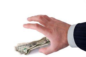 business hand grabbing money