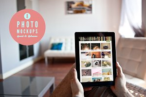 8 photo mockups- 5x iPad + 3x iPhone