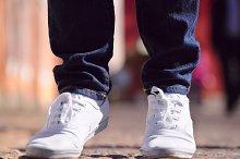 female sneakers closeup