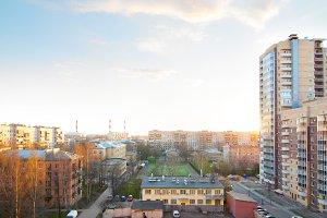 urban buildings at sunset