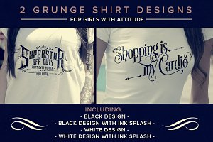 2 Distressed Girly Shirt Designs