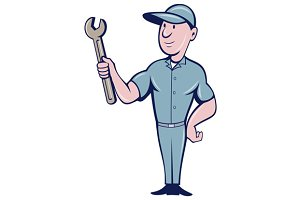 Handyman Holding Spanner Cartoon