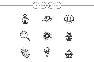 Candies and cakes line icons. Set 3