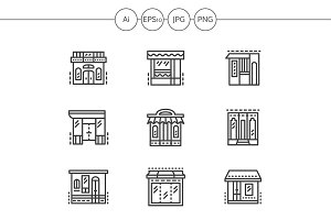 Store and shops line icons. Set 3
