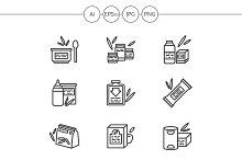 Baby food black line icons. Set 2
