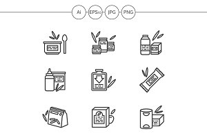 Baby food black line icons. Set 2
