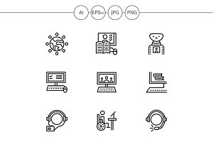 Education online line icons. Set 3