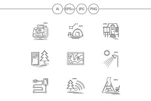 Camping elements line icons. Set 3