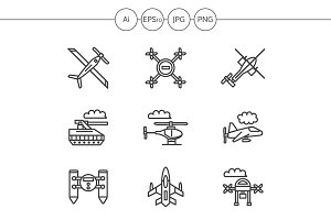 Military drones line icons. Set 3