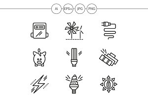 Saving energy line icons. Set 2