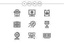 Basketball line vector icons. Set 3