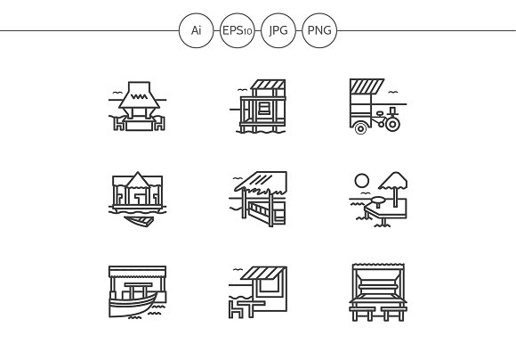 Cafe and bungalows line icons. Set 3 - Graphics