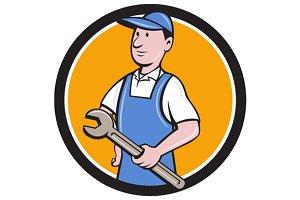 Repairman Holding Spanner Circle
