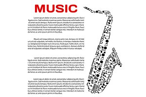 Music event poster with saxophone