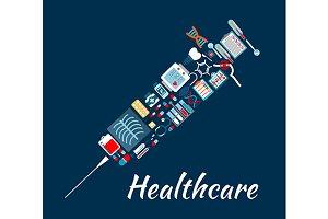 Syringe symbol with medical icons