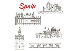 Spain landmarks icons