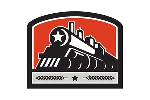Steam Train Locomotive Star Retro