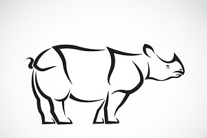 Vector image of a rhinoceros design.
