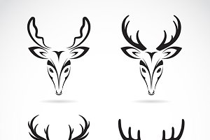 Vector group of deer head.