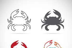 Set of vector crab icons.
