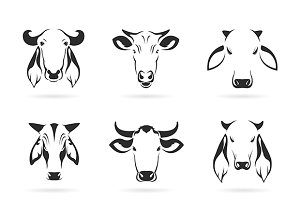 Vector set of cow head.