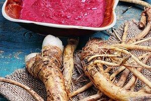 Fresh horseradish roots